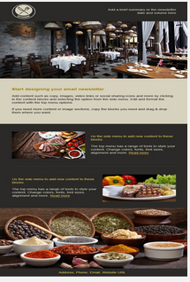 Sample Restaurant email and newletter template