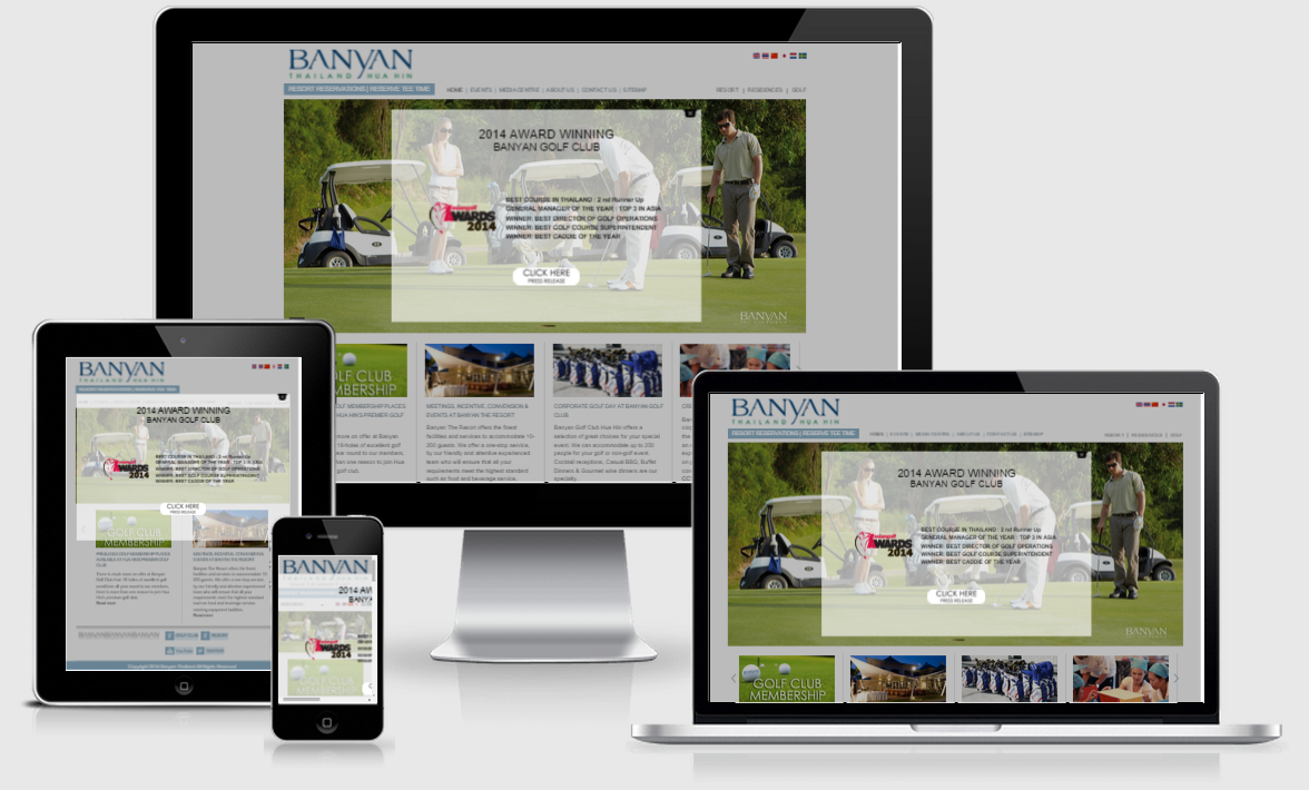 Banyan Resort and Golf Hua Hin responsive website